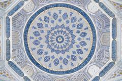 Dome of the mosque, oriental ornaments from samarkand, uzbekistan Stock Photos