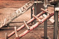 Childhood nostalgia rusty ladder Stock Photos