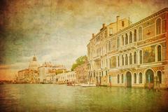 Vintage kuva Grand Canal, Venetsia Piirros