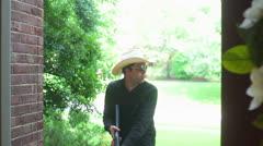 Sheriffi tutkii cowboy oikeuteen ranger haulikko Arkistovideo