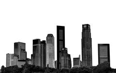 cityscape - silhouettes of skyscrapers - stock photo