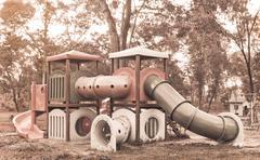 Stock Photo of childhood nostalgia playground equipment