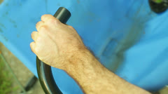 Using exercise equipment outside 1 Stock Footage
