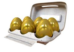 Six golden eggs in an egg carton Stock Illustration