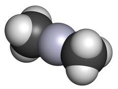 dimethylmercury  (organomercury compound), chemical structure. - stock illustration