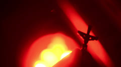 Crucifix fire hell bless blessing christianity Stock Footage