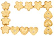Stock Photo of Bakery - Frame made of biscuits - Isolated on white - Abstract background