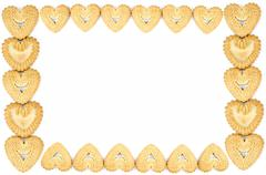 Bakery - Frame made of biscuits - Isolated on white - Abstract background - stock photo