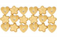 Stock Photo of Bakery - Star and heart shaped biscuits - Isolated on white - Abstract backgroun