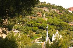 Panoramic of park guell by gaudí, barcelona Stock Photos