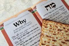 matza with haggadah for jewish holiday passover - stock photo