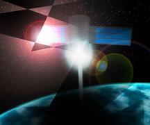 satellite cosmos background - stock illustration