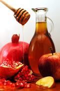 Rosh hashanah traditional food Stock Photos