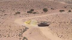 Tanke Firing Desert SLOWMOTION 01 Stock Footage