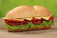 Sub sandwiches with salami Stock Photos