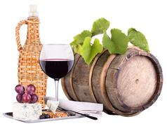 Wine glass with food Stock Photos