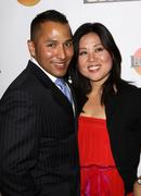tina kim, chris landavazo.cops 4causes introducing 'comedy uniting community' - stock photo