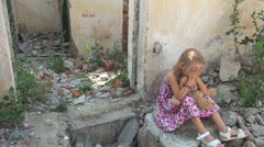 Unhappy, Abandoned Lonely Girl in Demolished House, Homeless Sad Child, Children - stock footage