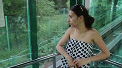 Girl in Funicular Stock Footage