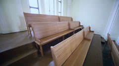 Wooden benches in Evangelical Lutheran Cathedral Stock Footage