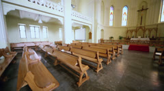 Benches and altar in Evangelical Lutheran Cathedral Stock Footage