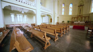 Stock Video Footage of Benches and altar in Evangelical Lutheran Cathedral