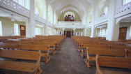 Stock Video Footage of Rows of benches and organ in Evangelical Lutheran Cathedral