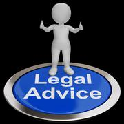 Legal advice button shows attorney expert guidance Stock Illustration