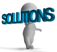 Solutions and 3d character shows answers and fixing Stock Illustration