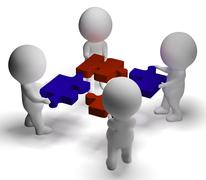 jigsaw pieces being joined showing teamwork and assembling - stock illustration