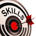 Stock Illustration of skills target shows abilities competence and training