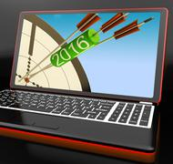 2016 arrows on laptop shows future expectations and resolutions Stock Illustration