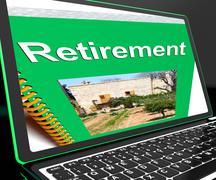 retirement book on laptop showing pension plans - stock illustration