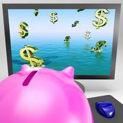 Dollarin symbolit hukkumisen monitorilla osoittaa taloudellisen katastrofin Piirros