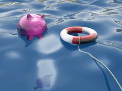 piggy with lifebuoy shows lifesaver and investment - stock illustration