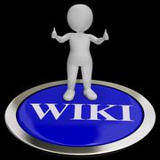 Wiki button shows online information or encyclopedia Stock Illustration