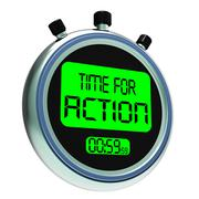 Time for action clock showing to inspire and motivate Stock Illustration