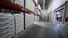 Many products lay on shelves in warehouse of Caparol factory Stock Footage