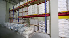 Warehouse with products on many shelves in Caparol factory Stock Footage