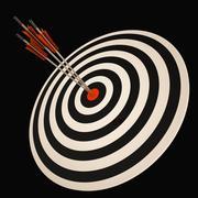 triple dart shows triumph in business - stock illustration