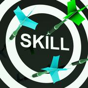 skill on dartboard shows competencies - stock illustration