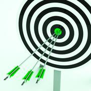 arrows on dartboard shows perfection - stock illustration