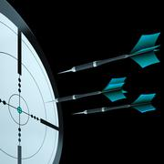 Arrows aiming target showing focusing Stock Illustration