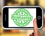Stock Illustration of guarantee on smartphone showing satisfaction guarantee