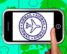 Stock Illustration of airmail on smartphone showing air delivery