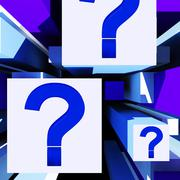 question mark on cubes shows uncertainty - stock illustration