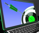 Stock Illustration of dartboard on laptop showing precise aiming