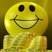 Smiley face with coins showing monetary happiness Stock Illustration