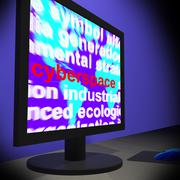 Cyberspace on monitor shows online technology Stock Illustration