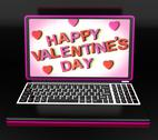 Stock Illustration of happy valentine's day on laptop showing celebrating love